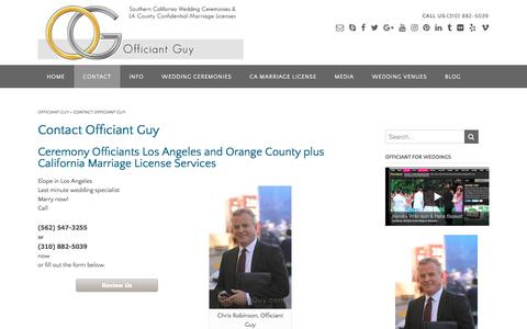 Screenshot of Contact Page officiantguy.com - Ceremony Officiants | California Officiant for Weddings - captured Nov. 2, 2017