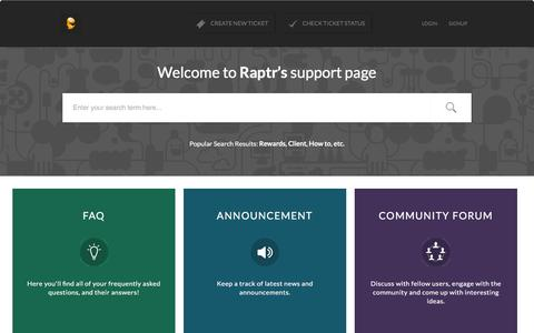 Screenshot of Support Page raptr.com - Support : Raptr Support - captured Dec. 3, 2015