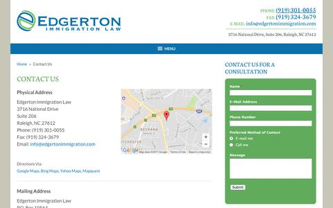Screenshot of Contact Page edgertonimmigration.com - Contact Us » Edgerton Immigration Law - captured July 17, 2017