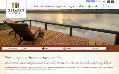 Screenshot of Home Page shishangeni.com - Shishangeni Private Lodge | Kruger National Park | Book Online - captured Sept. 23, 2014