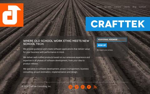 Screenshot of Home Page crafttek.com - CraftTek - Software Development and Design - captured Oct. 3, 2014
