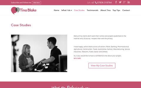 Screenshot of Case Studies Page tinablake.com - Case Studies   Tina Blake - captured Nov. 3, 2014