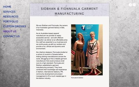 Screenshot of About Page siobhanandnuala.com - Our_Garment_Factory — Bali Garment Manufacturer, Australian owned clothing factory Indonesia, China - captured Feb. 4, 2016