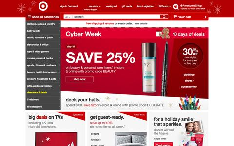 Screenshot of Home Page target.com - Target : Expect More. Pay Less. - captured Dec. 1, 2015