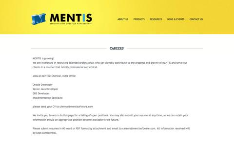 Screenshot of Jobs Page mentisoftware.com - MENTIS | Sensitive Data Lifecycle Management™ : Careers - captured Oct. 3, 2014