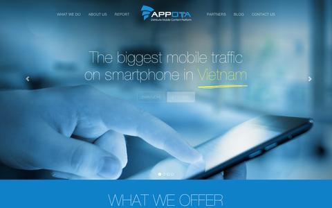 Screenshot of Home Page appota.com - Appota - Mobile Content Distribution Platform - captured Sept. 11, 2014