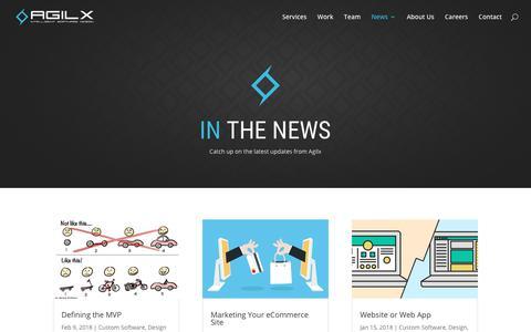 Screenshot of Press Page agilx.com - News | Agilx Software Development - captured July 6, 2018