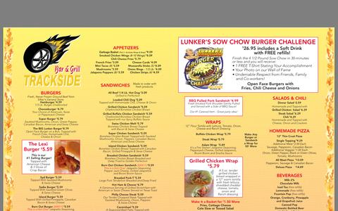 Screenshot of Menu Page tracksidebarandgrill.com captured Nov. 5, 2014
