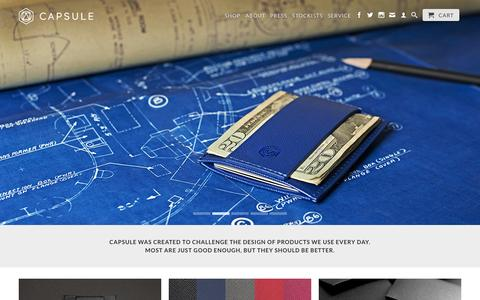 Screenshot of Home Page capsulewallets.com - The Minimalist™ Wallet Collection - captured Sept. 29, 2014
