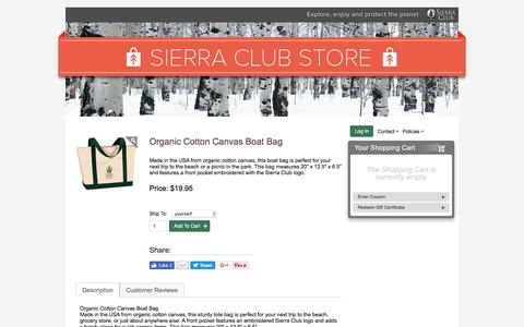 Screenshot of sierraclub.org - Organic Cotton Canvas Boat Bag – Sierra Club Online Store - captured Aug. 18, 2016
