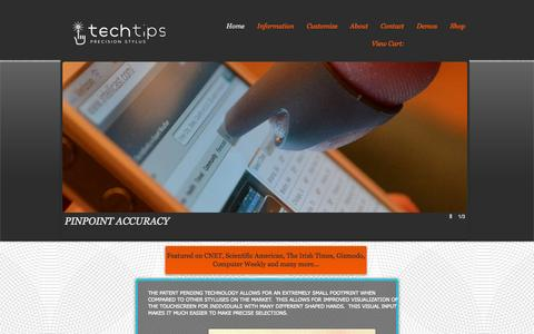 Screenshot of Home Page usetechtips.com - Tech Tips Precision Styluses - captured Oct. 6, 2014
