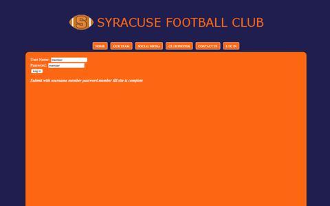 Screenshot of Login Page syracusefootballclub.com captured Aug. 16, 2016