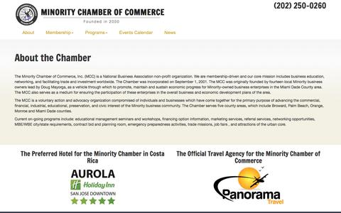 Screenshot of About Page minoritychamber.net - About the Minority Chamber of Commerce - captured Nov. 29, 2016