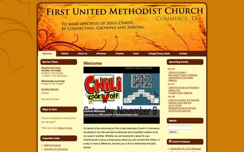 Screenshot of Home Page fumccommerce.org - First United Methodist Church – Commerce, TX: Welcome - captured Oct. 6, 2014
