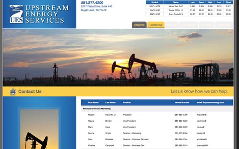 Screenshot of Contact Page upstreamenergy.com - Contact Us - Upstream Energy - captured Oct. 7, 2014