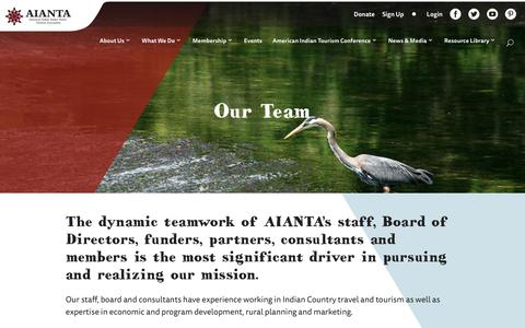 Screenshot of Team Page aianta.org - Our Team - AIANTA - captured Oct. 3, 2018