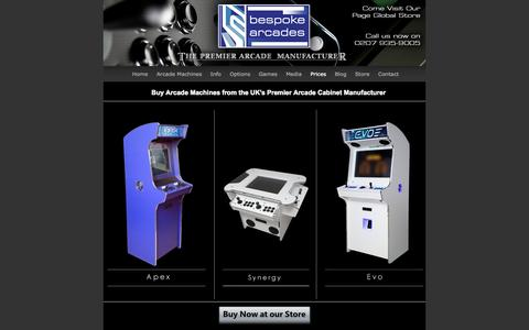Screenshot of Pricing Page bespoke-arcades.co.uk - Buy Arcade Machines Pricing & Ordering Information | Bespoke Arcades - captured Sept. 30, 2014