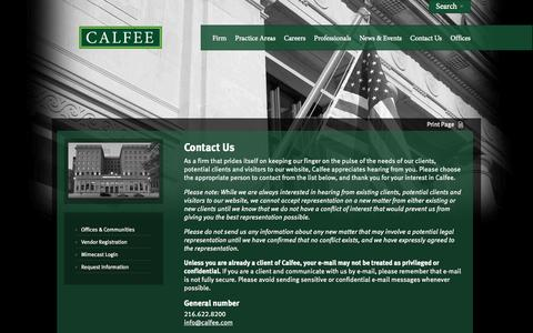 Screenshot of Contact Page calfee.com - Contact Us | Calfee, Halter & Griswold LLP - captured Oct. 1, 2014