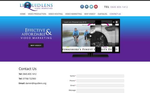 Screenshot of Contact Page liquidlens.org - Liquid Lens Video Marketing l Contact Us for information or a free consultation - captured Sept. 30, 2014