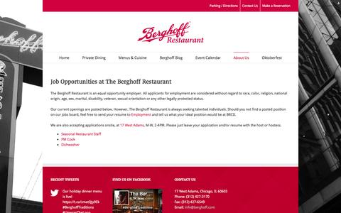 Screenshot of Jobs Page theberghoff.com - Careers at Berghoff Catering & Restaurant Group | The Berghoff - captured Nov. 22, 2016