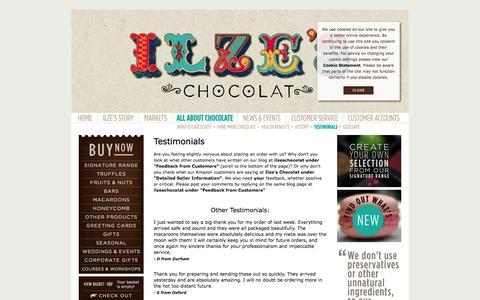 Screenshot of Testimonials Page ilzeschocolat.com - Ilze's Chocolat - Testimonials - captured Sept. 30, 2014