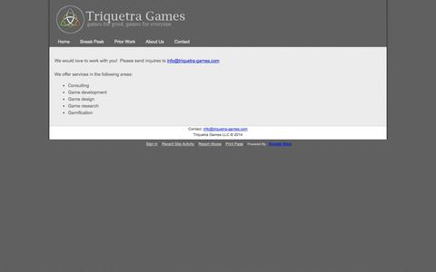 Screenshot of Services Page triquetra-games.com - Services - Triquetra Games - captured Oct. 9, 2014