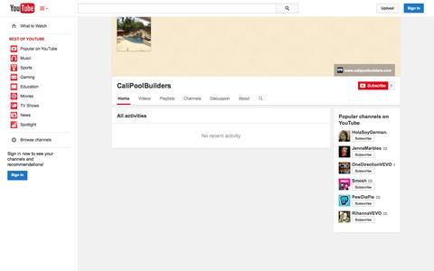 Screenshot of YouTube Page youtube.com - CaliPoolBuilders  - YouTube - captured Oct. 22, 2014
