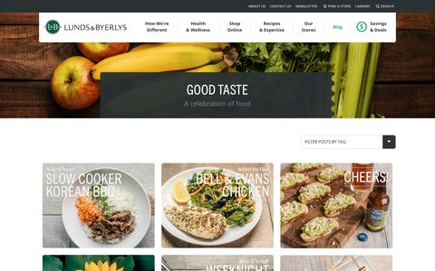 Screenshot of Blog lundsandbyerlys.com - Good Taste - A celebration of food - captured Aug. 23, 2016