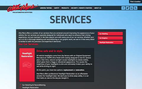 Screenshot of Services Page altamere.com - High-quality car accessory installation and service | Alta Mere - captured Sept. 30, 2014