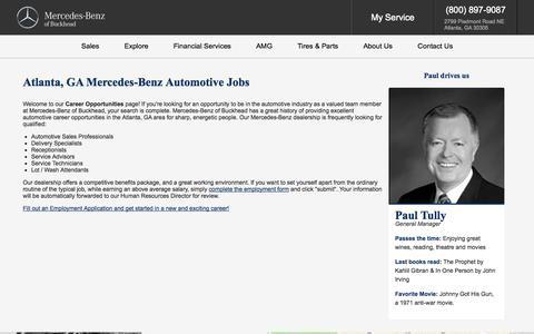 Screenshot of Jobs Page mercedesofbuckhead.com - Mercedes-Benz Atlanta, GA | Automotive Dealership Careers & Jobs at Mercedes-Benz of Buckhead - captured Nov. 1, 2014