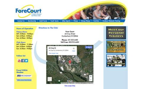 Screenshot of Maps & Directions Page forecourtri.com - Directions to Fore Court Racquet & Fitness Club - captured Feb. 10, 2016