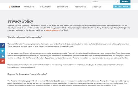 Screenshot of Privacy Page spredfast.com - | Spredfast - captured Oct. 22, 2014