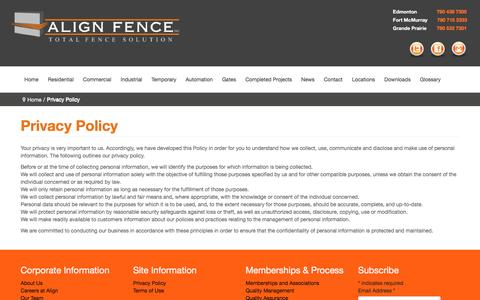 Screenshot of Privacy Page alignfence.com - Privacy Policy - captured Feb. 5, 2016