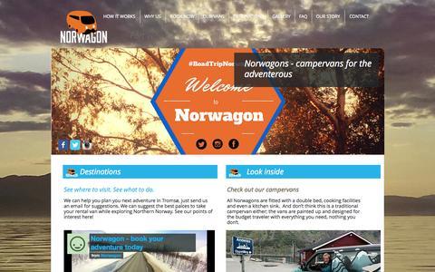 Screenshot of Home Page norwagon.com - Norwagon - Tromsø Campervan Rentals - captured Sept. 30, 2014