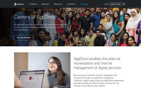 Screenshot of Jobs Page appdirect.com - Careers - AppDirect - captured April 9, 2018