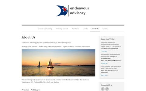 Screenshot of About Page endeavouradvisory.com - About Us - Endeavour Advisory - captured Sept. 30, 2014