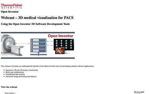 Screenshot of Landing Page thermofisher.com - Webcast – 3D medical visualization for PACS | Open Inventor - captured April 9, 2018