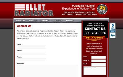 Screenshot of Contact Page elletradiator.com - Contact Us | Ellet Radiator - captured Oct. 2, 2014