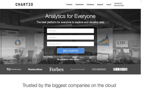Screenshot of Home Page chartio.com - Cloud Business Intelligence | Chartio - captured Nov. 18, 2015