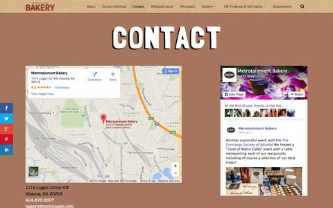 Screenshot of Contact Page metrobakery.com - Contact - Metrotainment Bakery - captured March 18, 2016