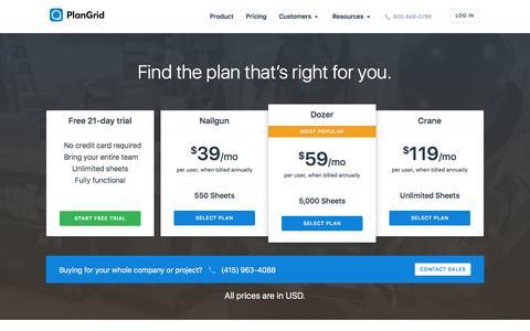 Screenshot of Pricing Page plangrid.com - Pricing | PlanGrid - captured June 23, 2017