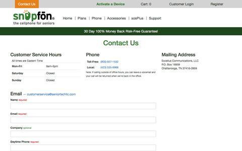 Screenshot of Contact Page snapfon.com - Snapfon - captured July 14, 2017
