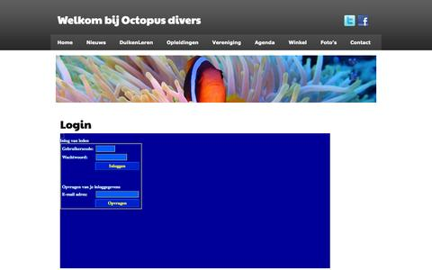 Screenshot of Login Page octopusdivers.nl - Login | Welkom bij Octopus divers - captured Oct. 27, 2014