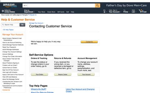Screenshot of Support Page amazon.ca - Amazon.ca Help: Contact Us - captured May 30, 2018