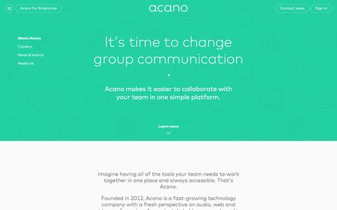 Screenshot of About Page acano.com - Collaboration technology that connects you and your team - captured Dec. 23, 2015