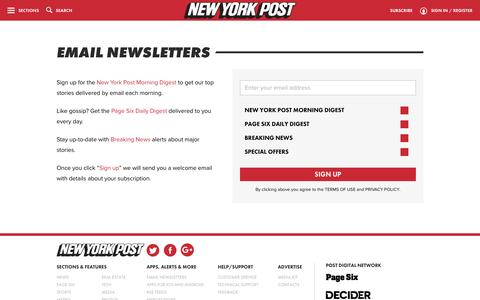 Screenshot of Signup Page nypost.com - Email Newsletter Signup - captured Dec. 8, 2015