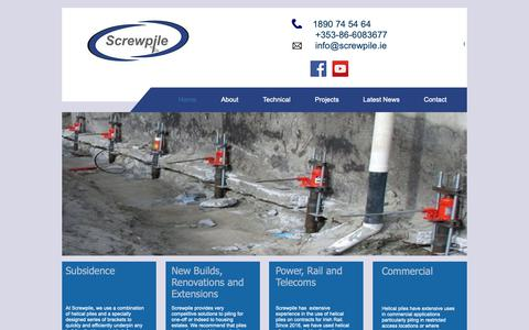 Screenshot of Home Page screwpile.ie - Screwpile | Subsidence and Piling | Cork | Screwpile - captured Oct. 18, 2018
