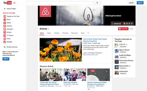 Screenshot of YouTube Page youtube.com - Airbnb  - YouTube - captured Oct. 22, 2014
