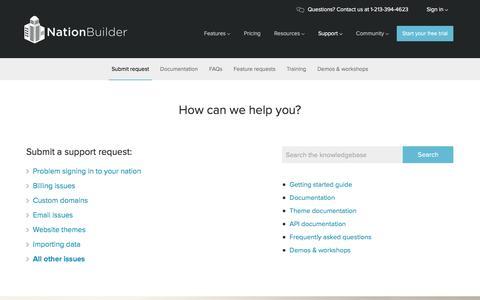 Screenshot of Support Page nationbuilder.com - NationBuilder Support - captured Nov. 29, 2015