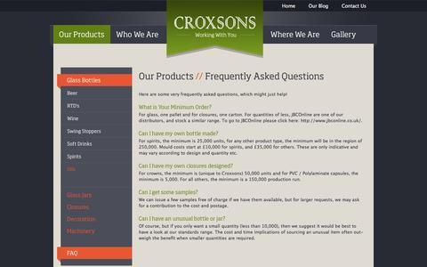 Screenshot of FAQ Page croxsons.com - FAQ - captured Dec. 13, 2015